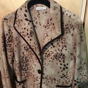 Susan Graver Woman's Med Jacket Tan Brown Pockets